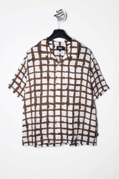 Stüssy Hemd Hand Drawn Grid Shirt weiß / braun kariert kaufen