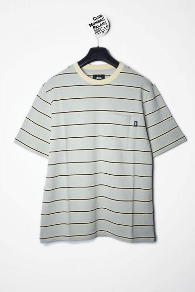 Stüssy T-Shirt Peak Stripe Crew grün / moss - T-Shirt online kaufen