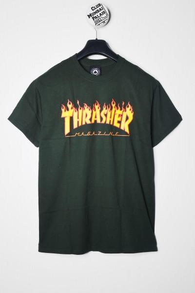 Thrasher T-Shirt Flame Logo grün online bestellen