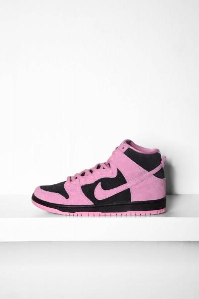 Nike SB Dunk High Pro black pink rise lucky green / grün Sneakers online bestellen